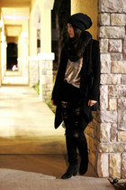 black distressed Forever 21 jeans - dark gray beanie H&M hat