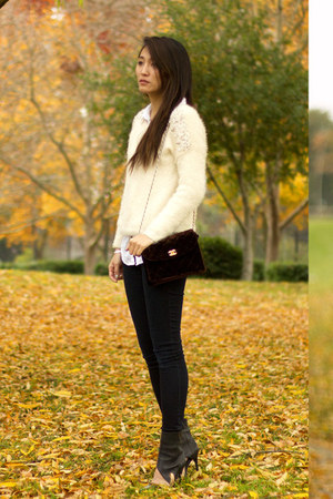 off white Maple sweater - navy jeggings American Eagle jeans