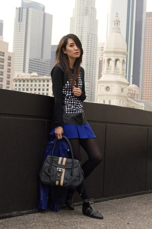 black leather Prada bag - blue cobalt leather no brand jacket