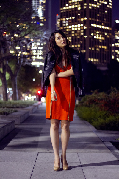 orange Three Floor dress - black leather no brand jacket