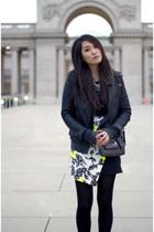 black leather no brand jacket - white asos skirt