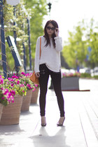 black zipper Paige Denim jeans - white loose knit ann taylor sweater