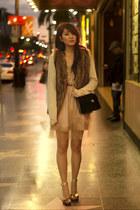 dark brown faux fur no brand vest - peach Rodarte for Target dress