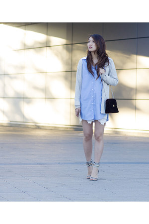 heather gray ankle strap Obsession Rules shoes - sky blue cotton Dailylook dress