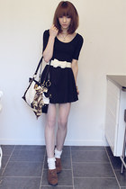 black GINA TRICOT dress - brown Deichmann shoes - off white socks