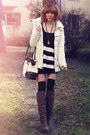 Dark-brown-din-sko-boots-white-jacket-white-bag-charcoal-gray-necklace