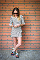 white H&M dress - blue colored Zara sneakers