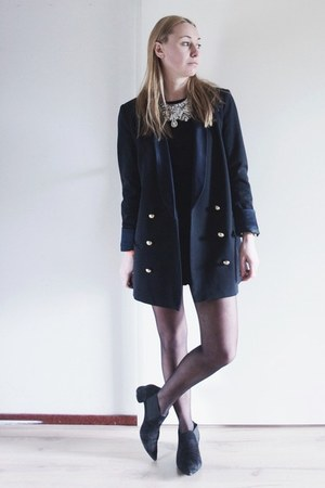 navy tuxedo Zara blazer - black Zara boots - black jumpsuit Topshop romper