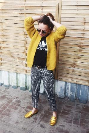 yellow sammydress cardigan - black H&M pants - black logo Adidas t-shirt