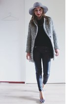 black black and white Sheinside coat - heather gray felt asos hat