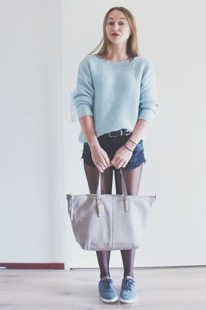 heather gray leather coach bag - black ripped denim shorts