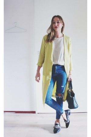 light yellow duster coat Sheinside blazer - blue Sheinside jeans