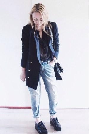 black sheer Mango blouse - blue boyfriend jeans Loavies jeans - navy Zara blazer