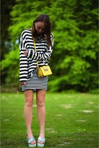 yellow leather box bag Rebecca Minkoff bag - black stripes Loavies sweater