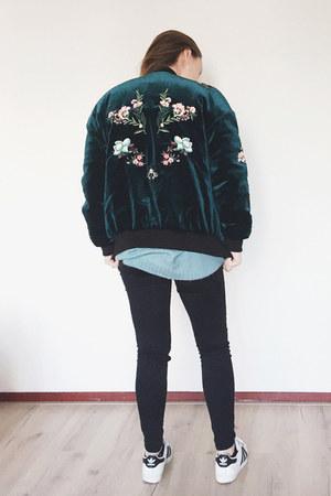teal zaful jacket - black asos jeans - sky blue knitted Zara sweater