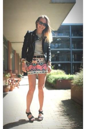 aztec Bershka skirt - Zara jacket - Pull and Bear heels