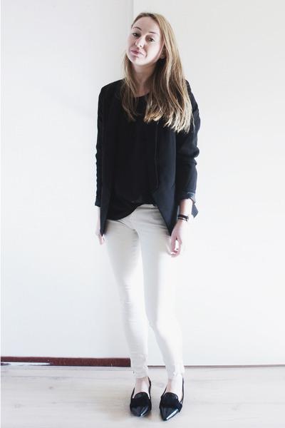 black basic Zara blazer - white coated Zara jeans - black sheer Mango blouse