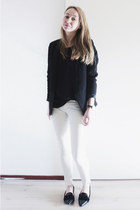 black basic Zara blazer - white coated Zara jeans - black sheer Mango blouse