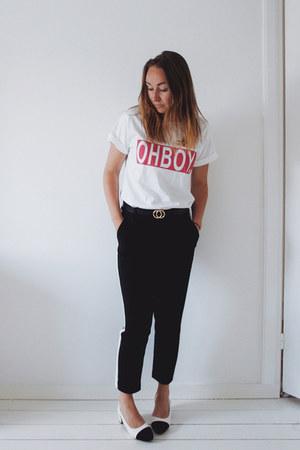 black side stripe Zara pants - white Yesstyle shoes