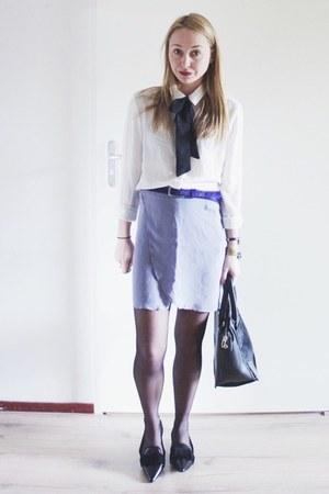 black faux fur Zara bag - periwinkle pastel costes skirt