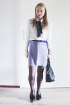 black faux fur Zara bag - periwinkle pastel costes skirt