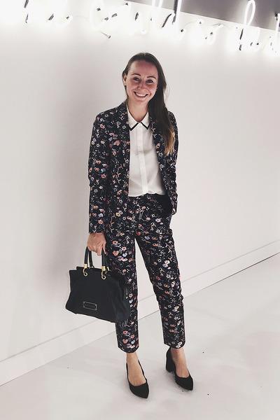 navy floral Miss Selfridge suit - white button down H&M shirt