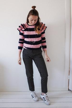 bubble gum striped ruffled asos sweater - black polkadot H&M pants