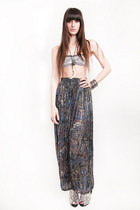 Magnolia Family Vintage pants - American Apparel bra - Jeffrey Campbell wedges