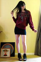 red vintage sweater - black vintage skirt