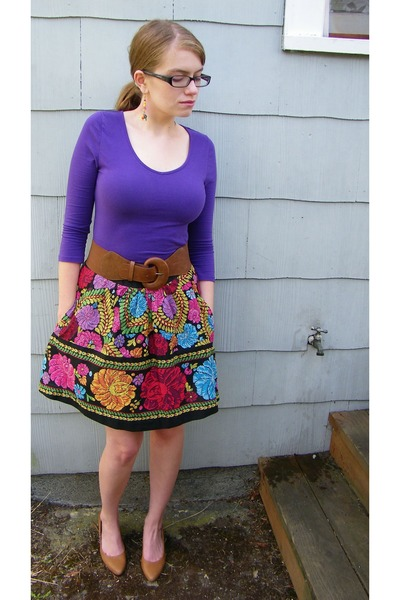 purple H&M top - Anthropologie skirt - brown modcloth shoes - brown Urban Outfit