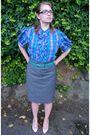 Vintage-blouse-gray-h-m-skirt-beige-dreang-shoes-blue-thrifted-belt-hand