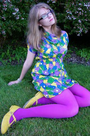 purple tights - yellow vintage shoes - PepaLoves dress - handmade bracelet