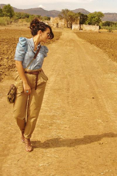 H&M blouse - pull&bear bag - Zara pants