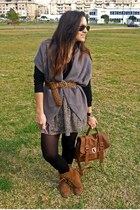 bronze Zara bag - silver vintage cardigan - bronze pull&bear boots - bronze Mang