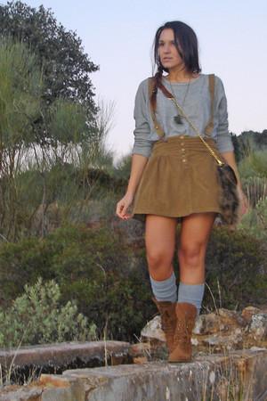 pull&bear bag - Zara skirt - pull&bear shoes - pull&bear t-shirt