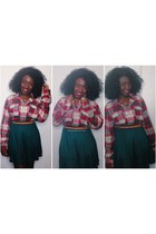 red cotton American Eagle shirt - dark green jersey H&M skirt