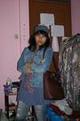 Gray-hat-blue-h-m-jacket-gray-gaudi-blouse-pink-scarf-brown-bag-hermes-