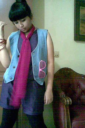 brown accessories - purple suit - pink scarf - blue Guess vest - white sunglasse