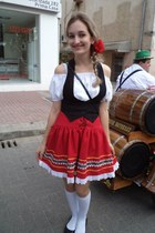 black shoes - white top - black vest - red skirt - red accessories