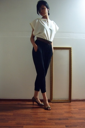 black pants - white Maiden top - brown belt