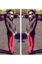 ankle boots Buffalo Exchange boots - red John Eshaya jeans - woven H&M hat