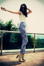 blue silk patterned Disco Pony pants