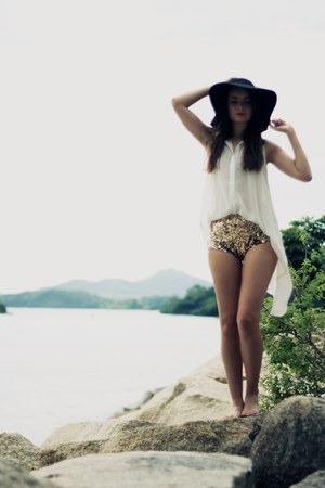 gold gold sequin Disco Pony panties - black floppy sun hat asos hat