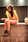 Cream-boater-straw-h-m-hat-black-sharks-egg-vintage-purse-mustard-ruffle-sle