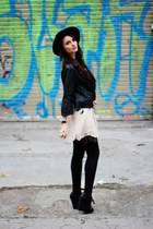 fedora vintage hat - Topshop dress - leather Bershka jacket