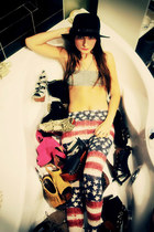 ruby red american flag random brand leggings - black vintage hat