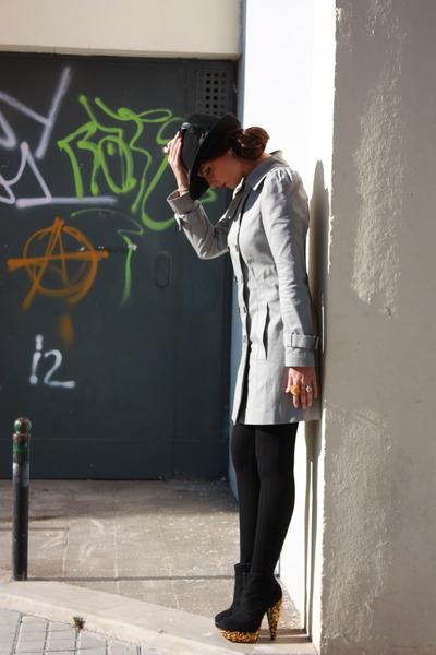 black Topshop boots - heather gray trench coat Zara coat