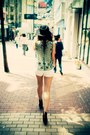 Black-fedora-vintage-hat-white-button-up-denim-h-m-shorts-teal-vintage-vest-