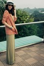 Olive-green-maxi-h-m-dress-ivory-market-hat-salmon-h-m-blazer