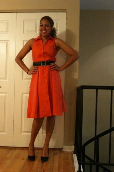 Carrot Orange Jones New York Dresses, Black Report Heels ...